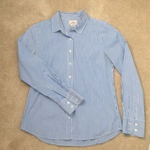 Blue and white stripe button up